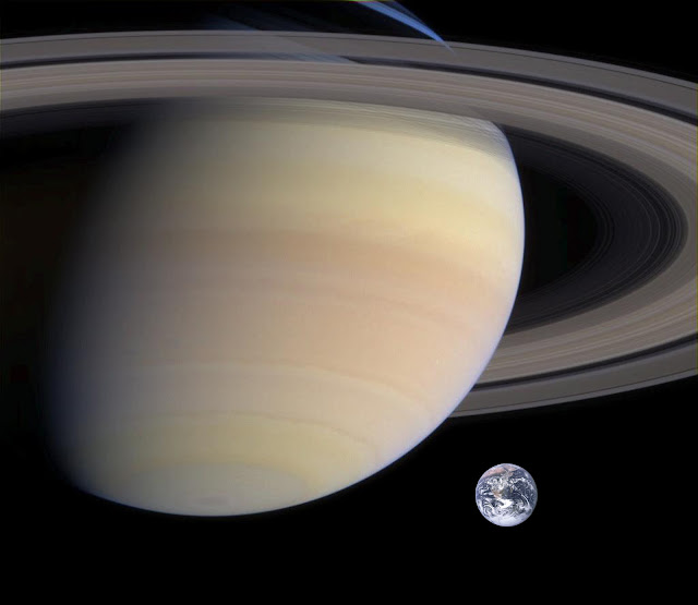 Comparison of the Earth to the Rings of Saturn