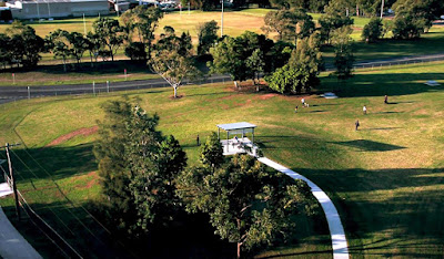 Speers Point Park Fenced Dog Exercise Area near Lake Macquarie view from above