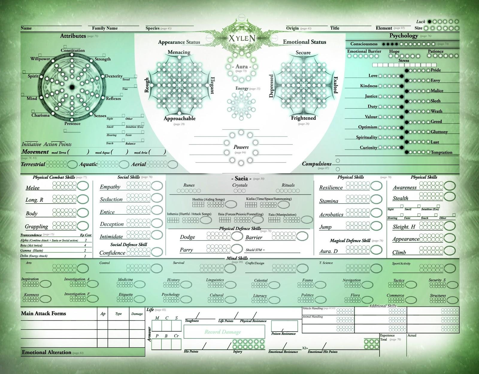 Eoris Essence: World Of Eoris (2013): Character Sheets