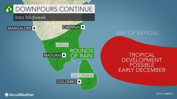 Flooding threat to continue in southern India, Sri Lanka this week