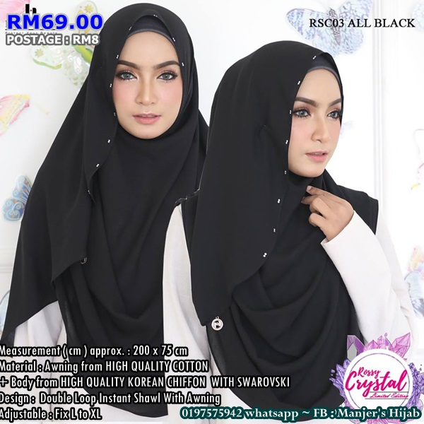 INSTANT SHAWL 2 LOOP KOREAN CHIFFON WITH SWAROVSKI ROSSY CRYSTAL