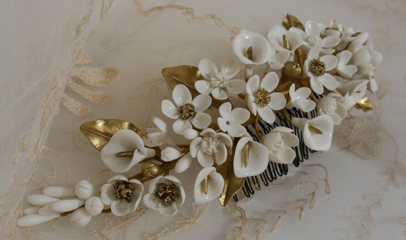 Tocados de novia joyer a cer mica flores de porcelana Ceramica artesanal valencia