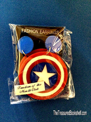 The earrings in the March 2016 Fandom of the Month Club Subscription Box are a Captain America theme