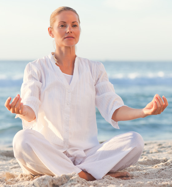 Peaceful woman practicing yoga, meditation