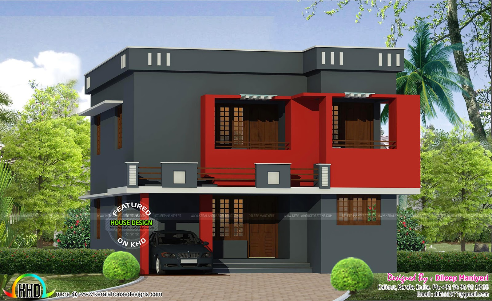 Dark Color Painted Modern Home Kerala Home Design And