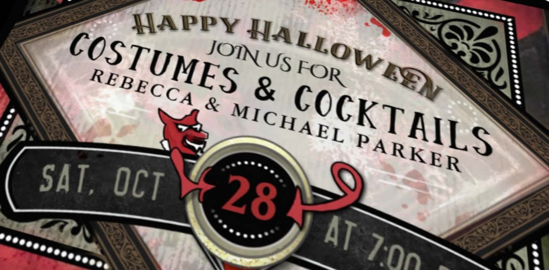 halloween party costumes & cocktails devil custom invitation by julie alvarez designs