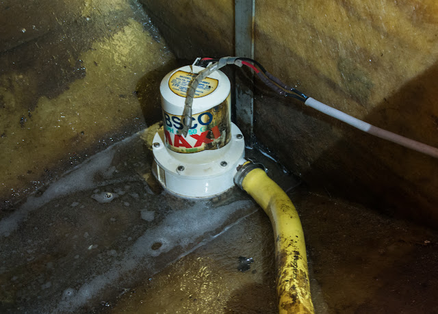 Photo of the former engine room bilge pump now fitted in the bow bilge