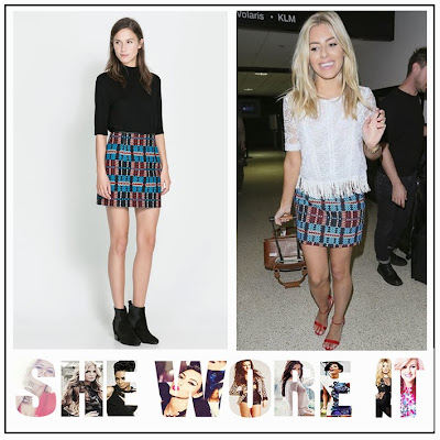 The Saturday's, Mollie King, Zara, Navy Blue, Royal Blue, Red Check, Patterned, Mini Skirt