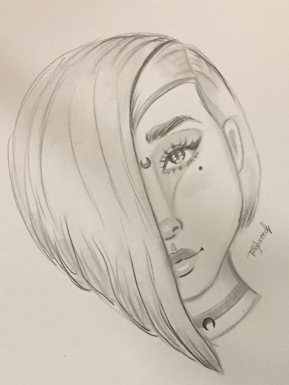 مدونة أرسم بالرصاص رسم سهل بالرصاص كيف ترسم وجه فتاة هالويين