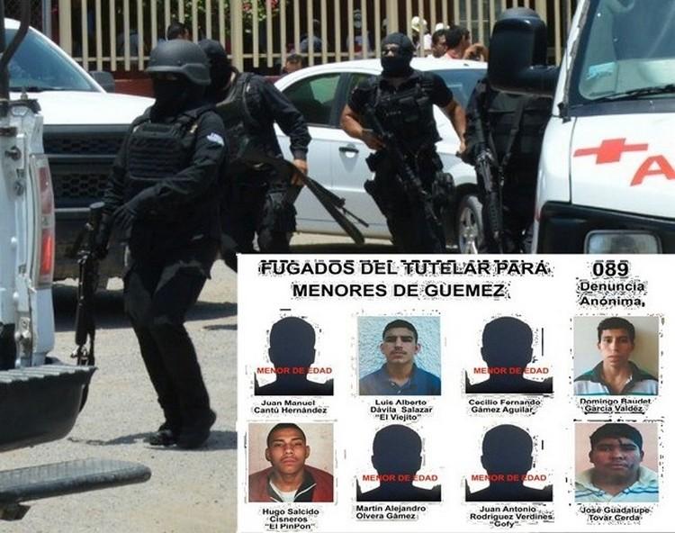 """INTEGRANTES DEL """"ZETA-28"""" CAUSANTES DE LA FUGA EN GUEMEZ A PUNTA DE PISTOLA."""