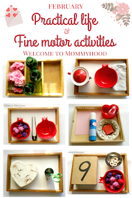 February practical life and fine motor activities for preschoolers and toddlers by Welcome to Mommyhood, #practicallife, #montessoriactivities, #preschoolactivities,