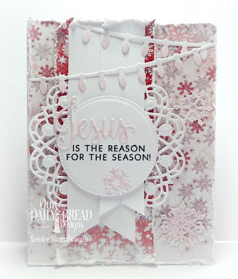 Our Daily Bread Designs Stamp/Die Duos: Jesus Loves You, Our Daily Bread Designs Custom Dies: Christmas Lights, Snow Crystals, Pierced Circles, Doily, Our Daily Bread Designs Paper Collectio:Snowflake Season
