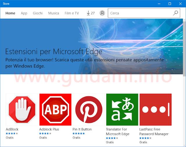Store Windows 10 Estensioni per Microsoft Edge