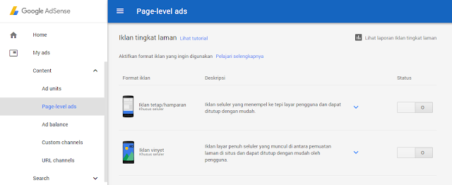 Cara Memasang iklan Page Level Ads Adsense di Blog