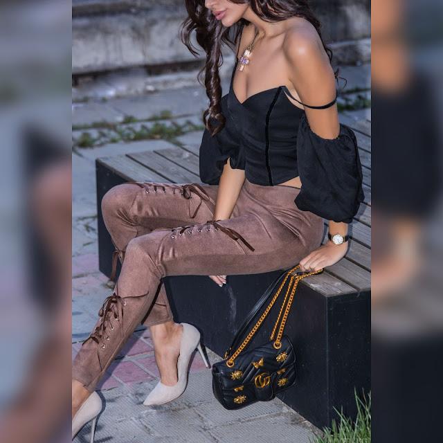 Γυναικείο ψηλόμεσο μπεζ παντελόνι MAILA BEIGE