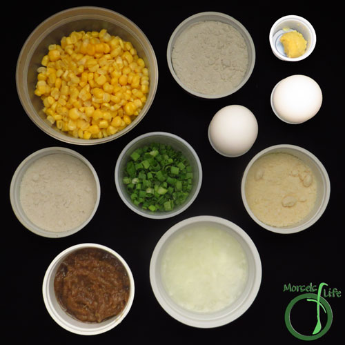 Morsels of Life - Baked Corn Fritters Step 1 - Gather all materials.