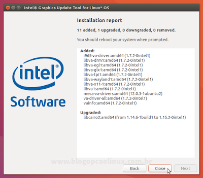 Relatório das mudanças realizadas pelo Intel Graphics Update Tool