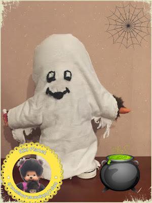 costume de fantôme d'Halloween pour Kiki ou Monchhichi déguisement couture fait main