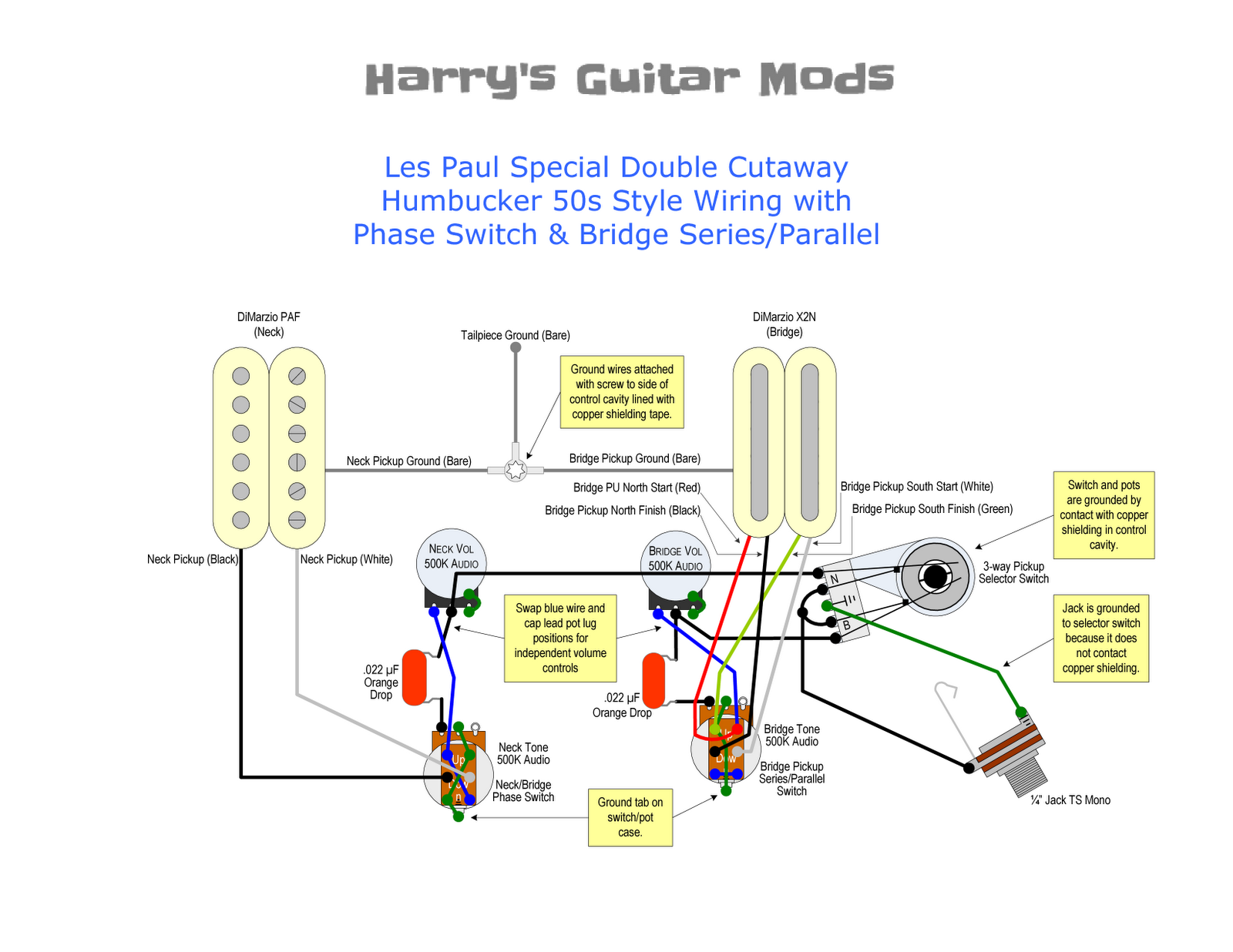 "I chose to use '50s style wiring, ""orange drop"" tone caps, DiMarzio volume  pots and push-pull tone pots, and Switchcraft right-angle selector switch  and ..."