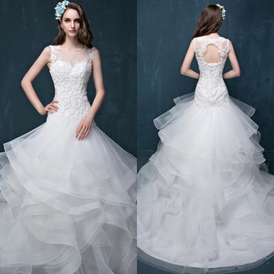 Fabulous Trumpet/Mermaid Scoop Neck Organza Tulle Appliques Lace Court Train Open Back Wedding Dresses #UKM00022860