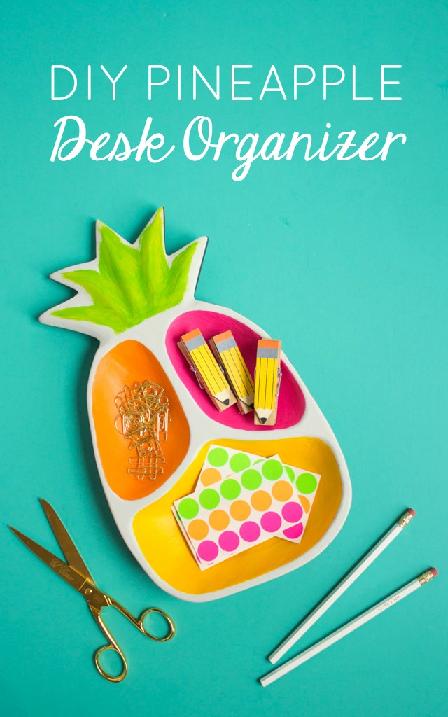 Turn a thrifted wood pineapple tray into a colorful desk organizer!