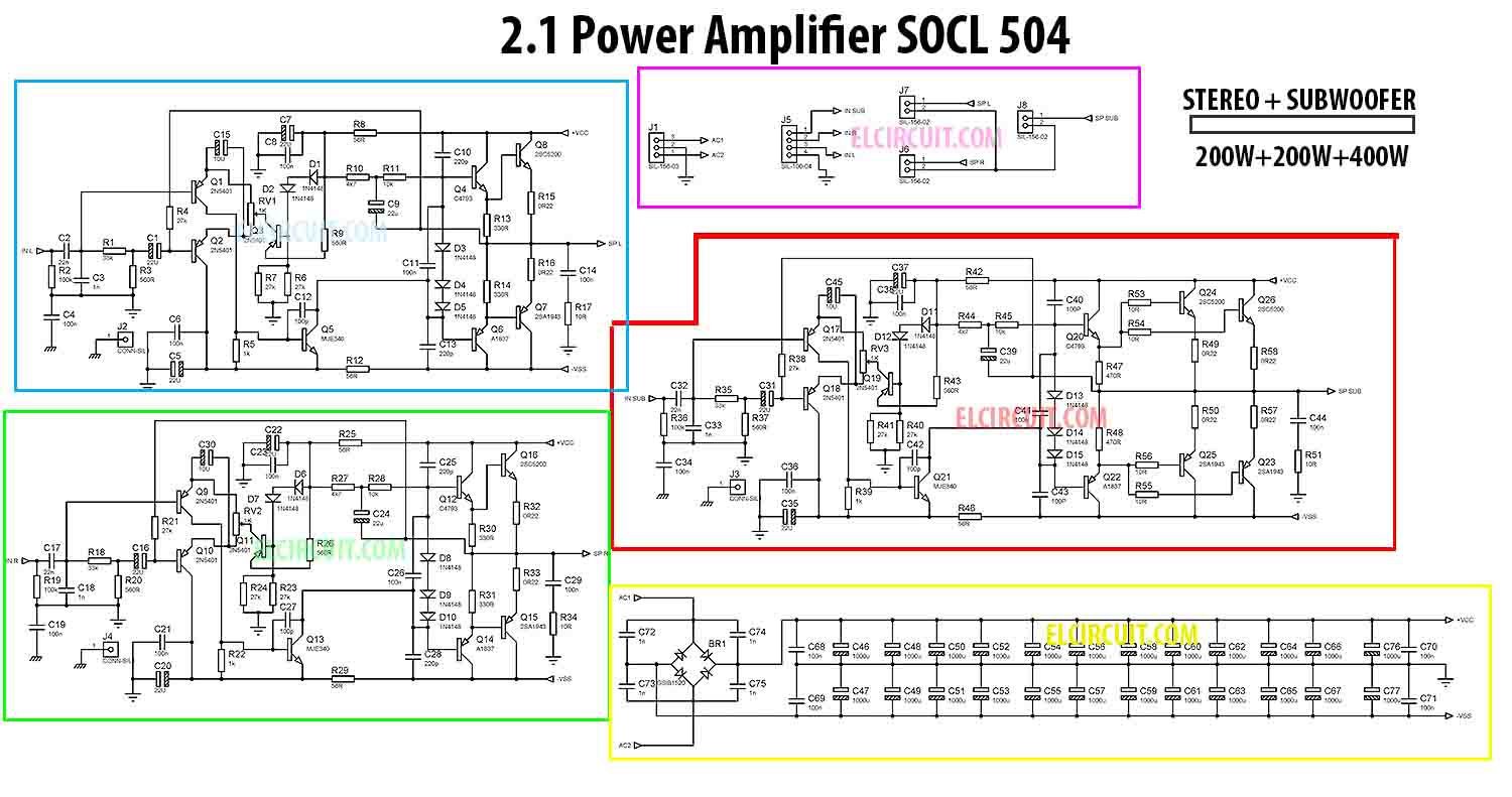 small resolution of power socl504 2 1 channel amplifier circuit schematic