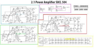 Power SOCL504 2.1 Channel Amplifier Circuit Schematic