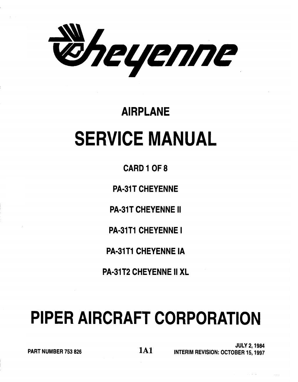 ARQUIVOS AERONÁUTICOS: Cheyenne Airplane Service Manual