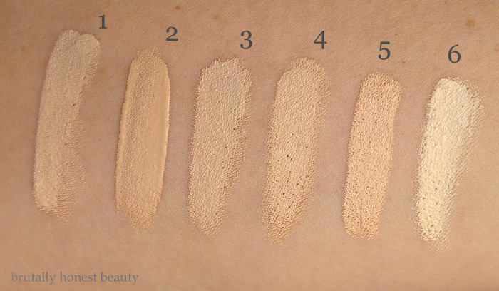 Swatches of IT Cosmetics Bye Bye Undereye in Light; Sephora Gel Serum Concealer in Fondant; Nars Radiant Creamy Concealer in Chantilly; Kevyn Aucoin Sensual Skin Enhancer in Sx02; Urban Decay 24/7 Concealer Pencil in CIA; Hard Candy Glamoflauge Concealer in Ultra Light.