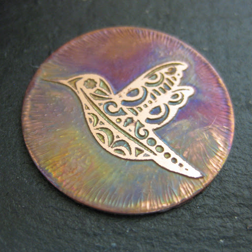 Edinburgh Etch Solution gives beautiful rainbow effect on the copper.  Tutorial by Nadine Muir for Silhouette UK Blog