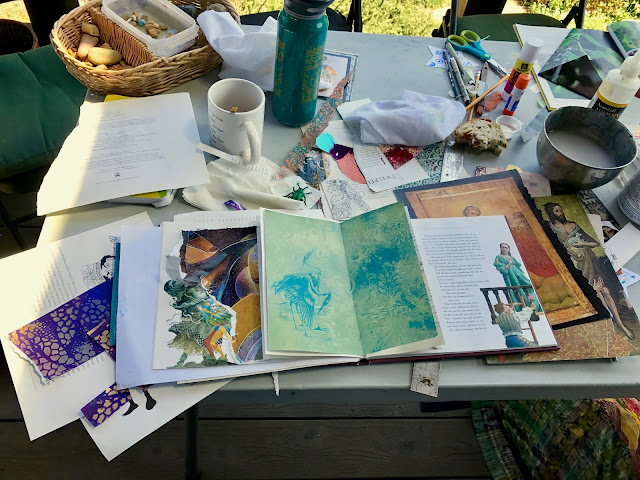 Messy workspace, making altered books