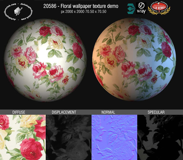 Floral wallpaper texture seamless 20586 and maps, displacement, normal and specular