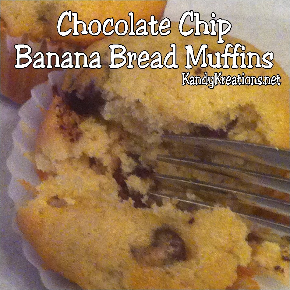 Enjoy these moist chocolate chip banana bread muffins at your dinner tonight.  They are quick and easy to whip up with items you probably already have around your kitchen now.  This is a yummy recipe that will make you the hero when your family tastes these chocolate chips inside the banana bread muffins.