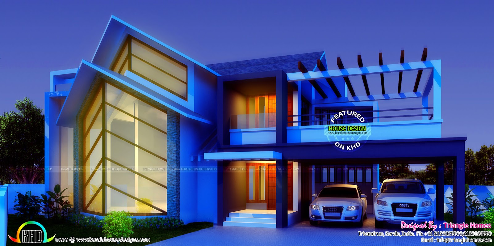 Great contemporary style sloping roof house kerala home design and floor plans - Outstanding modern houses ...