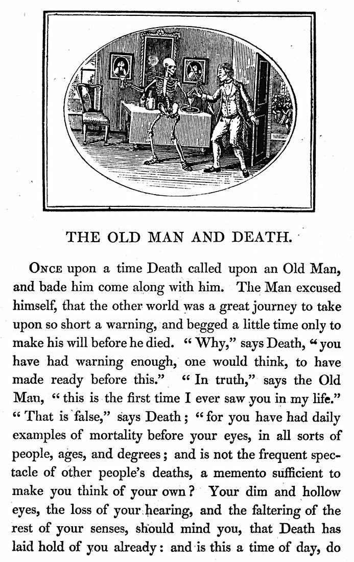 1820 children's school book about death