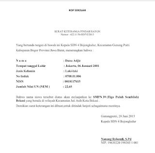 Download Surat Pindah Rayon Sekolah Format Docs