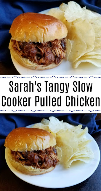 This tangy pulled chicken just takes a few ingredients and some time in the slow cooker for a deliciously sweet and tangy sandwich. Perfect for weeknights and busy nights!