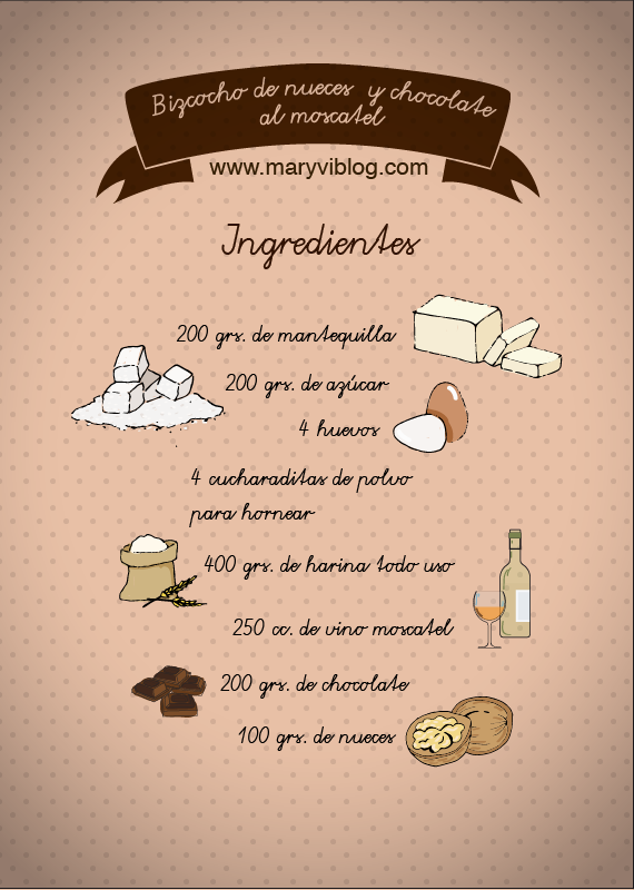 Bizcocho de nuez y chocolate al moscatel: ingredientes
