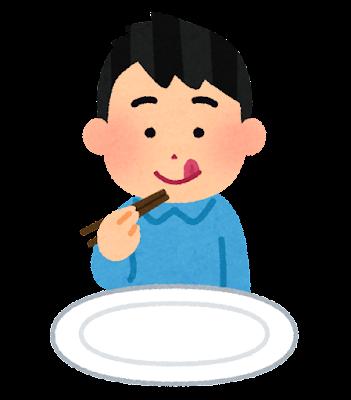 箸で食事をする人のイラスト(男性)