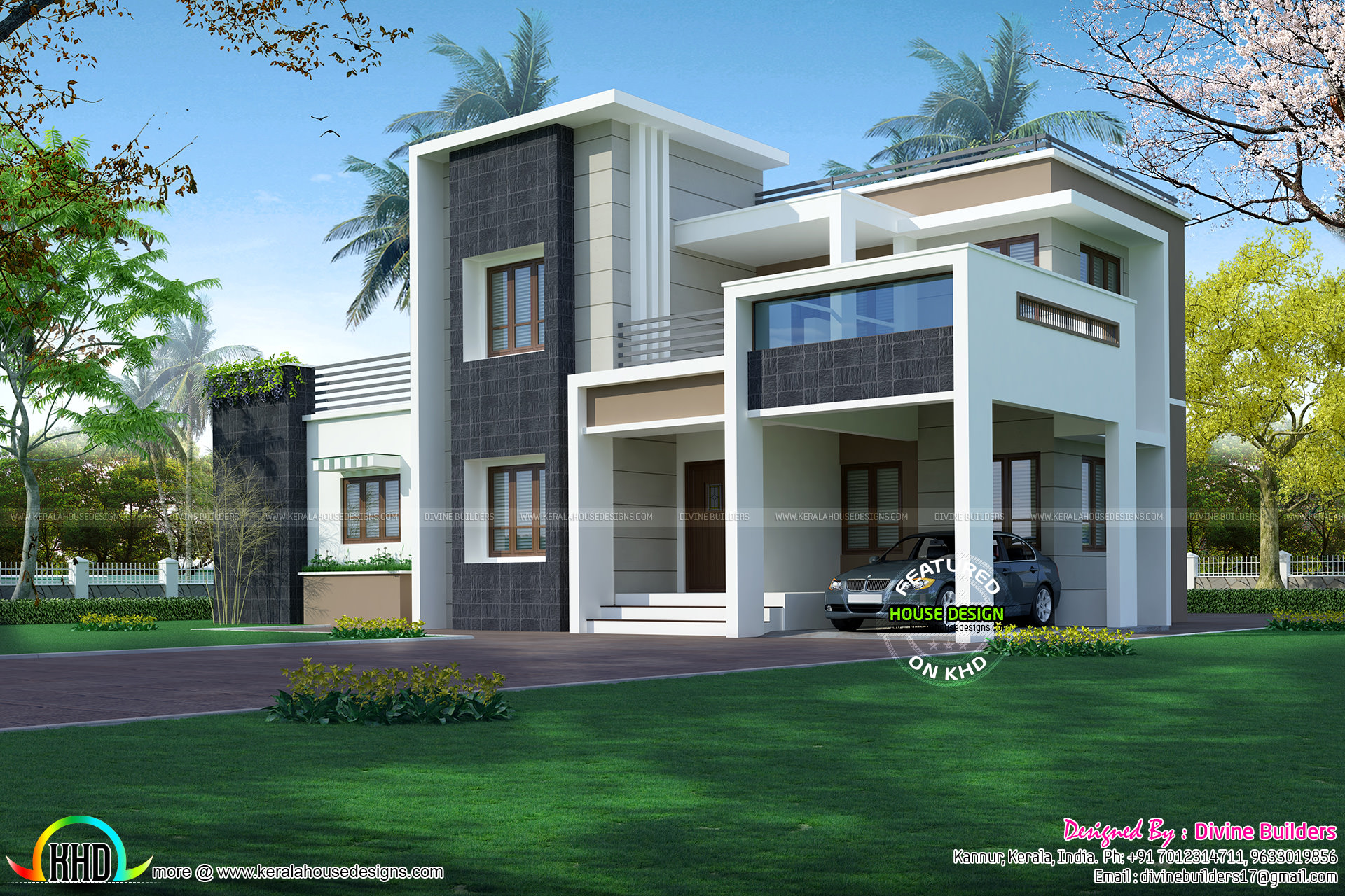2276 sq ft 3 bedroom modern box style architecture for Modern box type house design