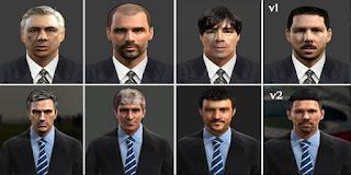 Faces: Ancelotti, Guardiola, Joachim Low, Diego Simeone, Mourinho, Manuel Pellegrini, Luis Enrique, Pes 2013