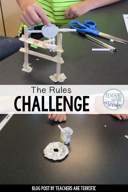 STEM Challenge for Back to School! Students choose a rule of your classroom and build a structure to model it!