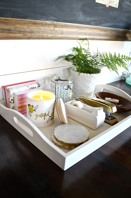 Goodwill tray with office supplies