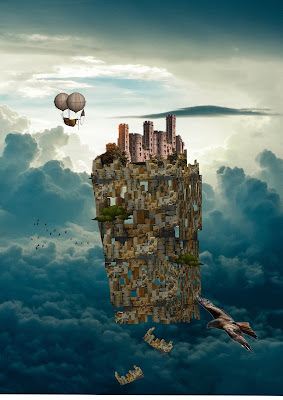 A castle floats above clouds as a bird of prey flies by and a flying machine floats in the background.
