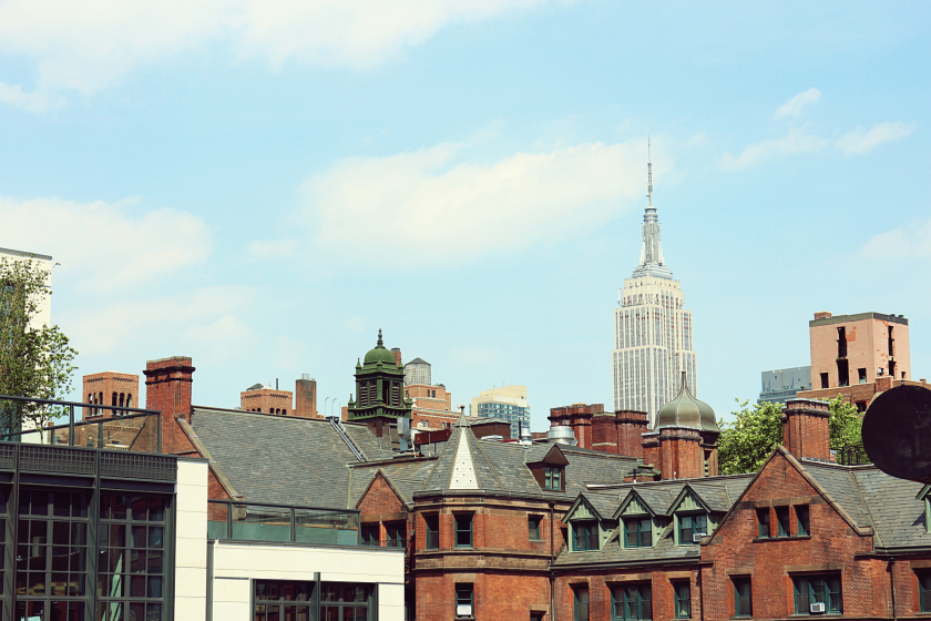 View of the Empire State Building from the High Line, Chelsea, New York