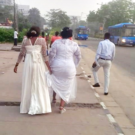 So Sad: Bride Spotted Trekking to Her Wedding Venue Due to the Lagos Marathon (Photo)