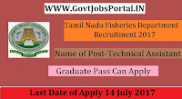Tamil Nadu Fisheries Department Recruitment 2017– Technical Assistant