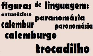 Antanáclese, paranomásia, paronomásia, calembur, calemburgo (do francês, calembourg) ou trocadilho