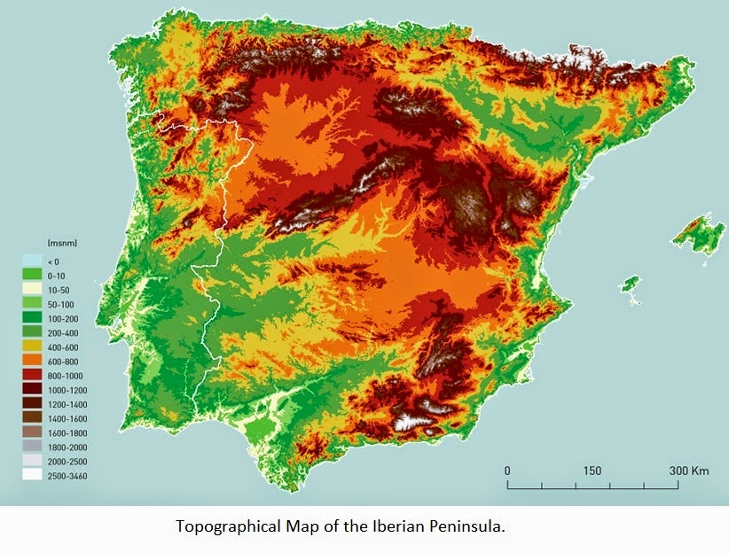Topographical Map Of Spain.Climate Map Of Spain