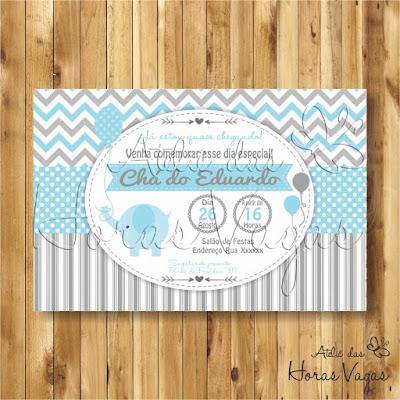 convite aniversário infantil personalizado artesanal festa 1 aninho chá de bebê fraldas menino elefantinho azul cinza chevron poá listras delicado envelope tag adesivo